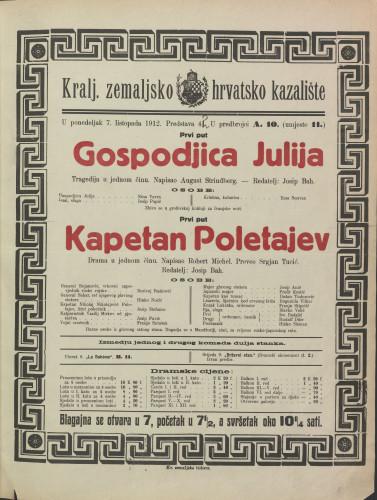 Gospodjica Julija ; Kapetan Poletajev : Tragedija u jednom činu: Drama u jednom činu