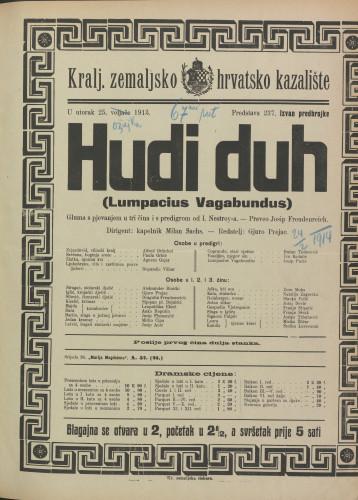 Hudi duh  =  Lumpacius Vagabundus : Gluma s pjevanjem u tri čina i s predigrom