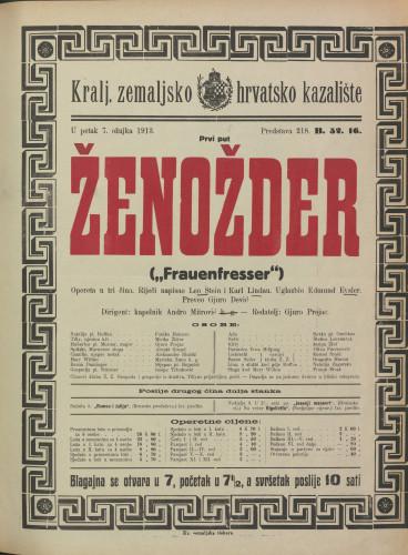 Ženožder : Opereta u tri čina  =  Frauenfresser