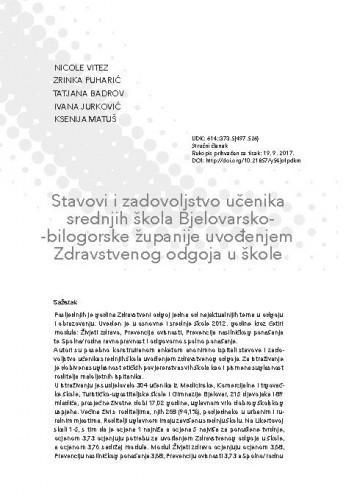 Stavovi i zadovoljstvo učenika srednjih škola Bjelovarsko-bilogorske županije uvođenjem Zdravstvenog odgoja u škole