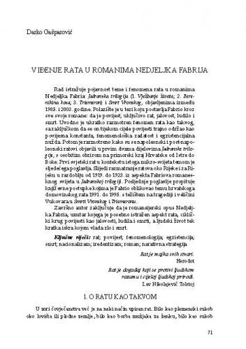 Viđenje rata u romanima Nedjeljka Fabrija
