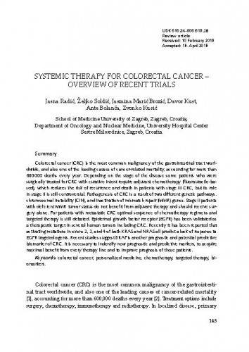 Systemic therapy for colorectal cancer - Overview of recent trials