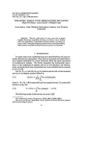Weighted Hardy-type inequalities involving fractional calculus operators / Sajid Iqbal, Josip Pečarić, Muhammad Samraiz, Živorad Tomovski