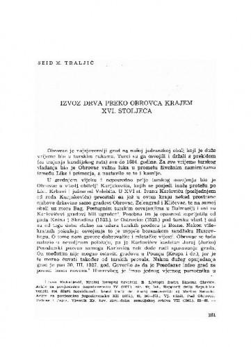 Izvoz drva preko Obrovca krajem XVI. stoljeća / Seid M. Traljić