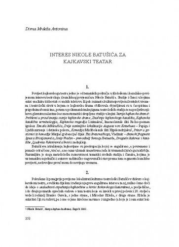 Interes Nikole Batušića za kajkavski teatar / Divna Mrdeža Antonina