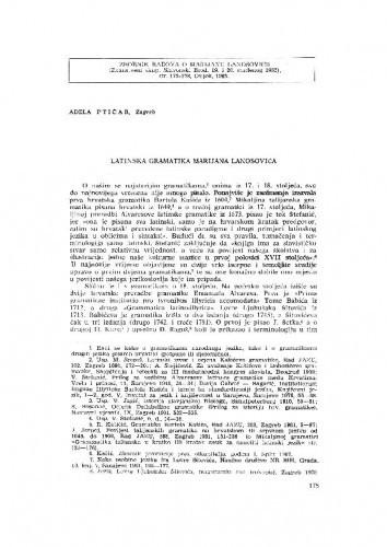 Latinska gramatika Marijana Lanosovića / A. Ptičar
