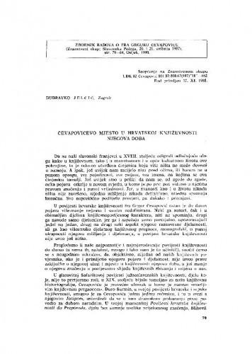 Čevapovićevo mjesto u hrvatskoj književnosti njegova doba / Dubravko Jelčić