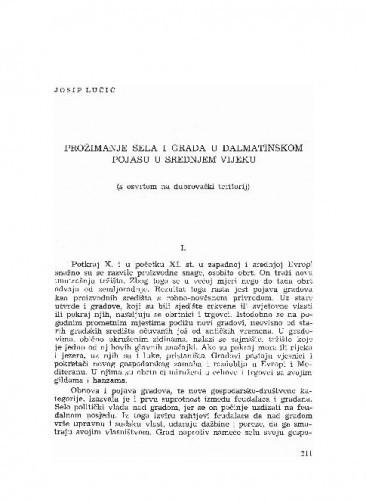 Prožimanje sela i grada u dalmatinskom pojasu u srednjem vijeku : (s osvrtom na dubrovački teritorij) / Josip Lučić