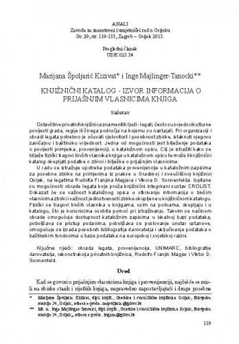Knjižnični katalog - izvor informacija o prijašnjim vlasnicima knjiga / Marijana Špoljarić Kizivat, Inge Majlinger-Tanocki