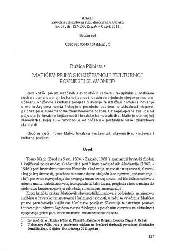 Matićev prinos književnoj i kulturnoj povijesti Slavonije / Ružica Pšihistal
