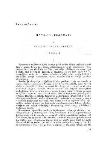Mavro  Vetranović : A. Pjesnik u svom vremenu / Franjo Švelec