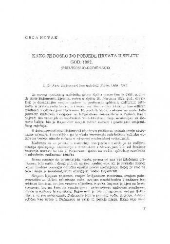 Kako je došlo do pobjede Hrvata u Splitu god. 1882. / Grga Novak