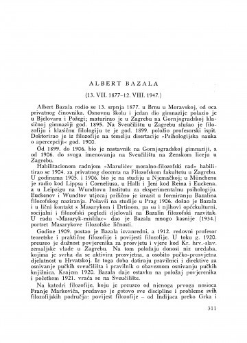 Albert Bazala : (13. VII. 1877. - 12. VIII. 1947.) : [nekrolog]