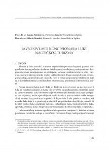 Javne ovlasti koncesionara luke nautičkog turizma : [uvodno izlaganje] / Ranka Petrinović, Nikola Mandić