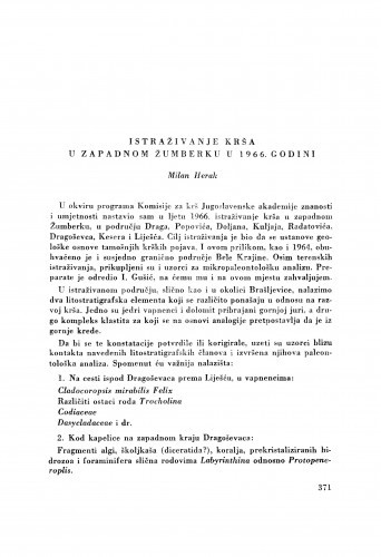 Istraživanje krša u zapadnom Žumberku u 1966. godini / M. Herak