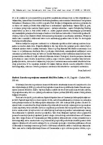Radovi Zavoda za povijesne znanosti u Zadru, sv. 50, Zagreb - Zadar 2008. : [prikaz] / Goran Budeč