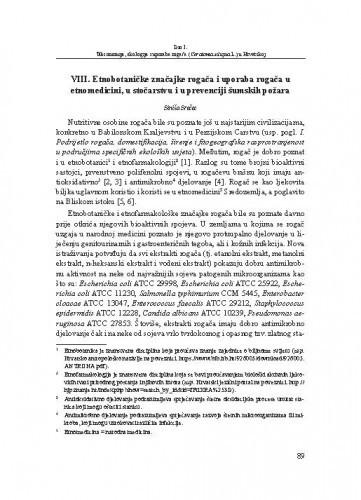 Etnobotaničke značajke rogača i uporaba rogača u etnomedicini, u stočarstvu i u prevenciji šumskih požara / Siniša Srečec