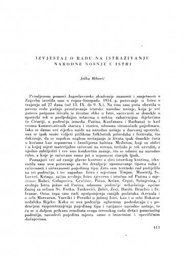 Izvještaj o radu na istraživanju narodne nošnje u Istri / J. Ribarić