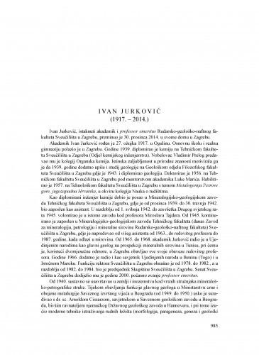 Ivan Jurković (1917.-2014.) : [nekrolog] / Goran Durn, Vesnica Garašić