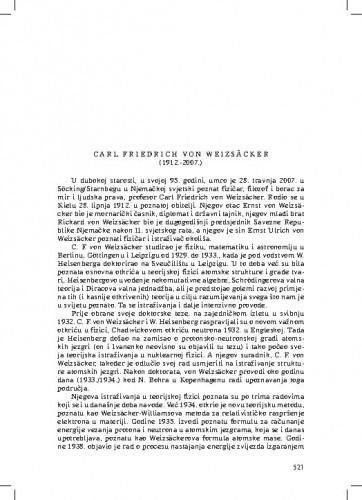 Carl Friedrich von Weizsäcker (1912.-2007.) : [nekrolog] / Ksenofont Ilakovac