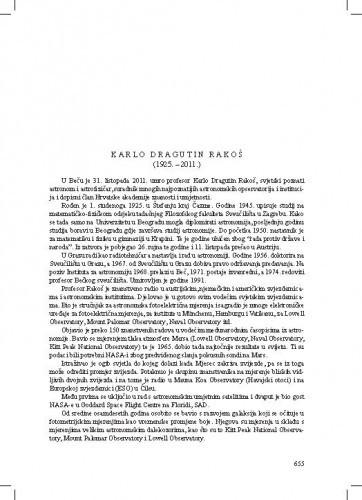 Karlo Dragutin Rakoš (1925.-2011.) : [nekrolog] / Ksenofont Ilakovac