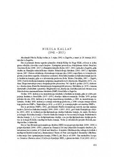 Nikola Kallay (1942.-2015.) : [nekrolog] / Nenad Trinajstić