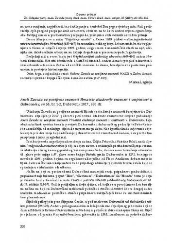 Anali Zavoda za povijesne znanosti Hrvatske akademije znanosti i umjetnosti u Dubrovniku, sv. 55, br. 1-2, Dubrovnik 2017. : [prikaz]