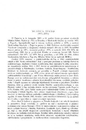 Mladen Sekso (1922.-2003.) : [in memoriam] / Zvonko Kusić