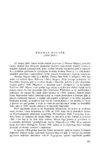 Thomas Magner (1918.-2004.) : [nekrolog] / Damir Kalogjera