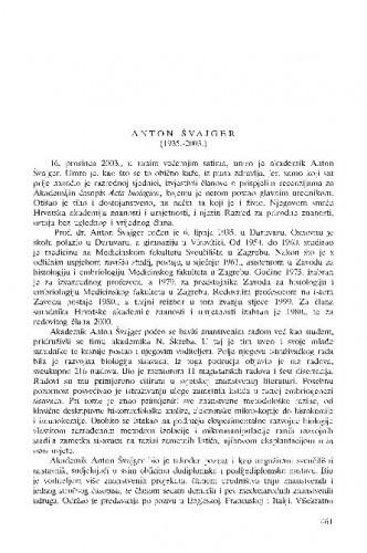 Anton Švajger (1935.-2003.) : [in memoriam] / Andrija Kaštelan