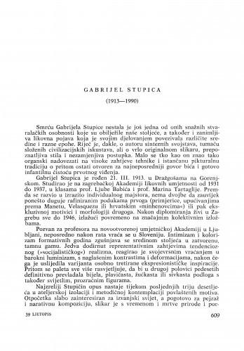 Gabrijel Stupica (1913-1990) : [nekrolozi] / Tonko Maroević