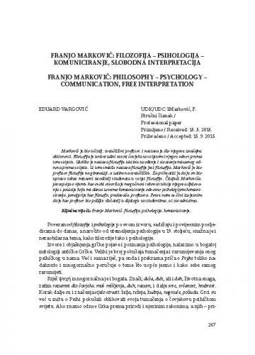 Franjo Marković: filozofija - psihologija - komuniciranje, slobodna interpretacija / Eduard Vargović