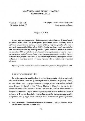 Vlast Nezavisne Države Hrvatske na otoku Korčuli / Tonko Barčot