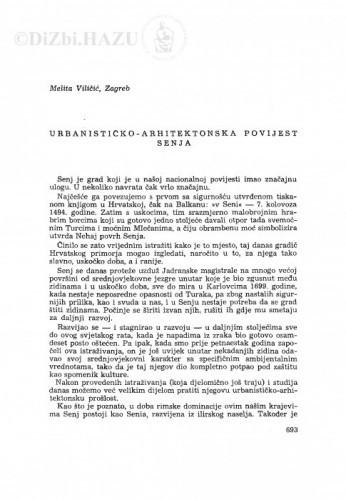 Urbanističko arhitektonska povijest Senja / M. Viličić