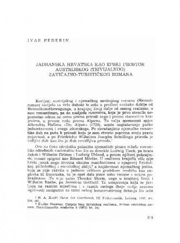 Jadranska Hrvatska kao epski prostor austrijskog (trivijalnog) zavičajno-turističkog romana / Ivan Pederin