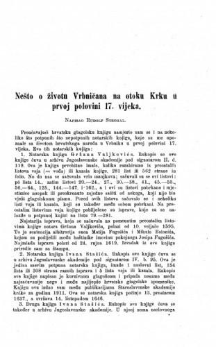 Nešto o životu Vrbničana na otoku Krku u prvoj polovini 17. vijeka / R. Strohal