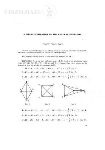 A characterization of the regular pentagon / V. Volenec