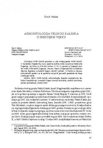 Arhontologija Velikog Kalnika u srednjem vijeku / Éva B. Halász