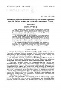 Beitrag zur plastostatischen Berechnung von Deckentragwerken aus auf Balken gelagerten zweiachsig gespannten Platten / R. Rosman