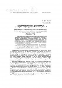 Conformation-reactivity relationship in 1,6-anhydro-β-D-glucopyranose derivates, part I / D. Miljković, N. Vukojević, J. Hranisavljević