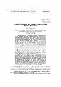 Chemical adventures with synthetic gastrointestinal peptide hormones / H. C. Beyerman