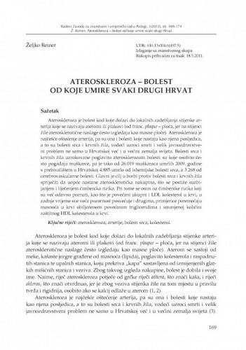 Ateroskleroza - bolest od koje umire svaki drugi Hrvat / Željko Reiner