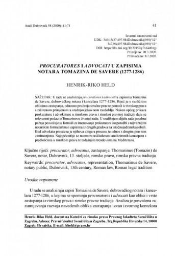 Procuratores i advocati u zapisima notara Tomazina de Savere (1277-1286) / Henrik-Riko Held