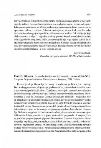 Emir O. Filipović, Bosansko kraljevstvo i Osmansko carstvo (1386-1463). Sarajevo: Orijentalni institut Univerziteta u Sarajevu, 2019 : [prikaz] / Vesna Miović