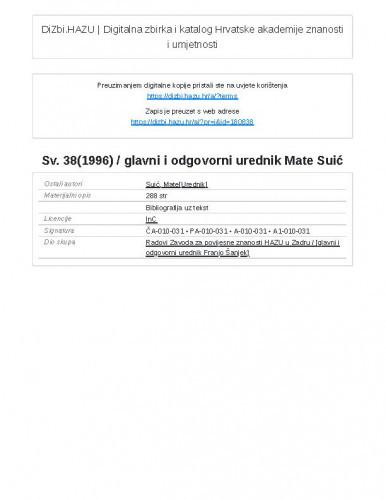 Sv. 38(1996) / glavni i odgovorni urednik Mate Suić