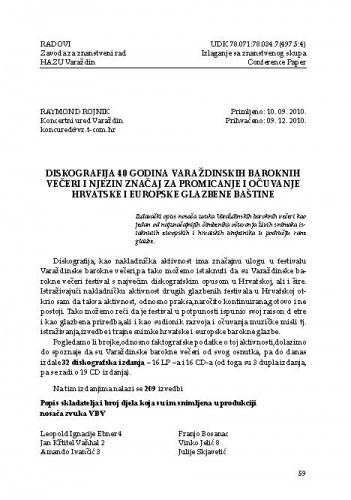 Diskografija 40 godina Varaždinskih baroknih večeri i njezin značaj za promicanje i očuvanje hrvatske i europske glazbene baštine / Raymond Rojnik