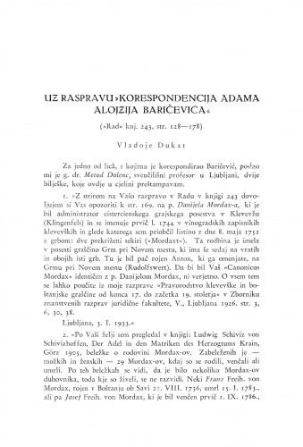 Uz raspravu Korespondencija Adama Alojzija Baričevića : (Rad knj. 243, str. 128-178) / V. Dukat