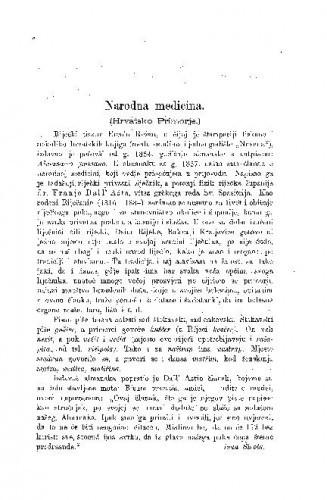 Narodna medicina : (Hrvatsko Primorje) / F. Dall' Asta ; preveo i uvod napisao Ivan Širola