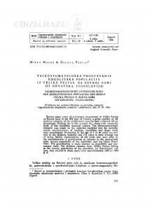 Paleostomatološka proučavanja eneolitske populacije iz Velike pećine na Ravnoj gori (SZ Hrvatska, Jugoslavija) / M. Malez, H. Percač
