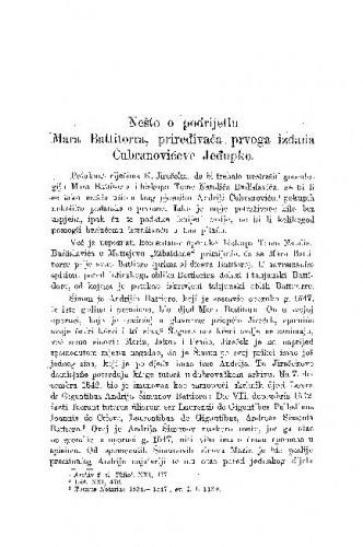 Nešto o podrijetlu Mara Battitorra, priređivača prvog izdańa Čubranovićeve Jeđupke / Šime Urlić